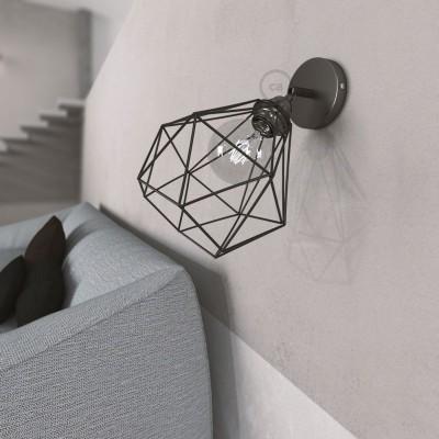 Fermaluce Metallo 90° podesiva zidna reflektor lampa sa biserno crnom završnom obradom i sjenilom Dijamant