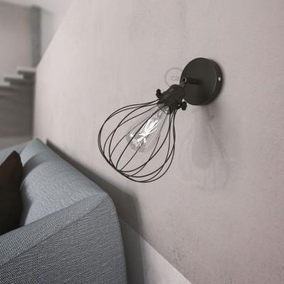 Fermaluce Metallo 90° podesiva zidna reflektor lampa sa biserno crnom završnom obradom i sjenilom Drop