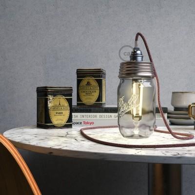 Pocinčani Mason Jar komplet za viseću lampu s konusnim produživačem i E14 kromiranim metalnim grlom