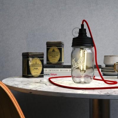Crni Mason Jar komplet za viseću lampu s cilindričnim produživačem i E14 grlom za žarulju od crnog bakelita