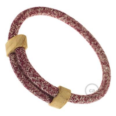 Narukvica iz tekstilnog kabela RS83, bordo tvid - lan, gliter i bordo pamuk. Drveni podesivi držač. Izrađeno u Italiji.