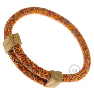 Narukvica iz tekstilnog kabela RX07, indijsko ljeto, pamuk. Drveni podesivi držač. Izrađeno u Italiji.