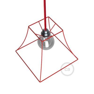 Ukrasni kavez za svjetiljku Piramida crvene metalik boje, E27 grlo.