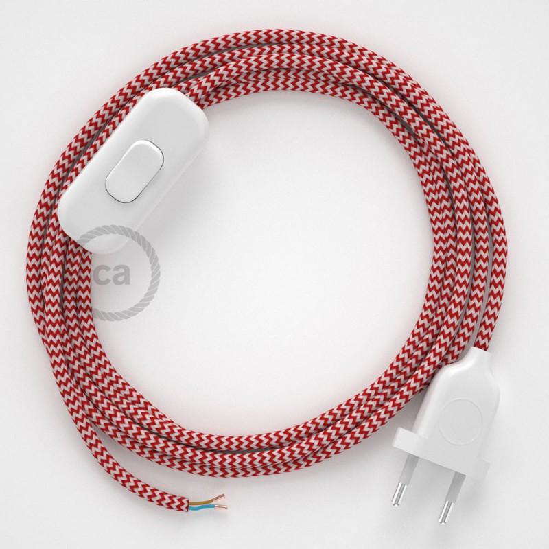 Komplet s prekidačem RZ09 Cik-Cak Crveni - 1,8 m. odaberite boju prekidača i utikača!