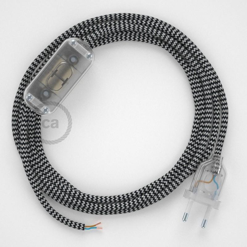Komplet s prekidačem RZ04 Cik-Cak Crni - 1,8 m. odaberite boju prekidača i utikača!