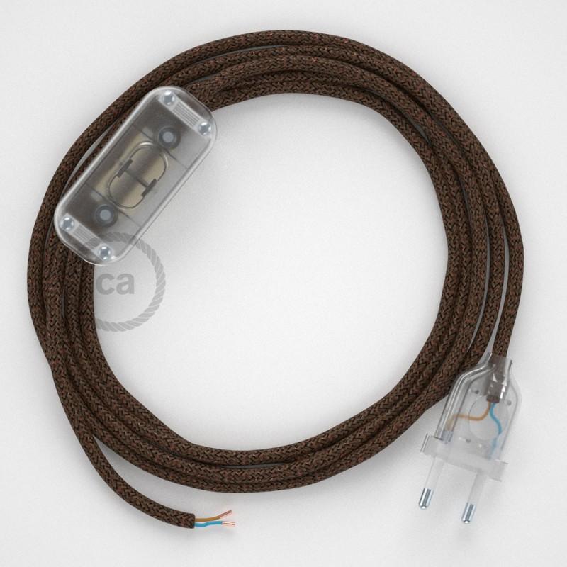 Komplet s prekidačem RL13 Blještava Smeđi - 1,8 m. odaberite boju prekidača i utikača!