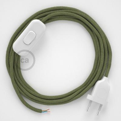 Komplet s prekidačem RD72 Cik-Cak, Timijan Zeleni Pamuk I Prirodni Lan - 1,8 m. odaberite boju prekidača i utikača!