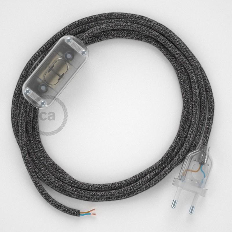 Komplet s prekidačem RS81 Crni Pamuk I Prirodni Lan - 1,8 m. odaberite boju prekidača i utikača!