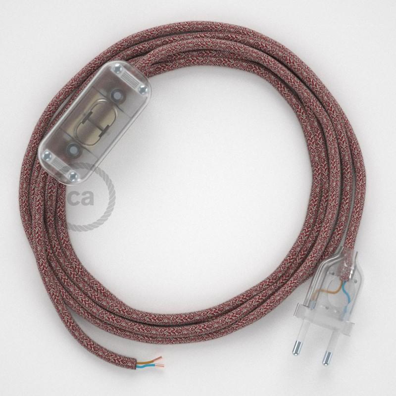 Komplet s prekidačem RS83 Crvena Pamuk I Prirodni Lan - 1,8 m. odaberite boju prekidača i utikača!