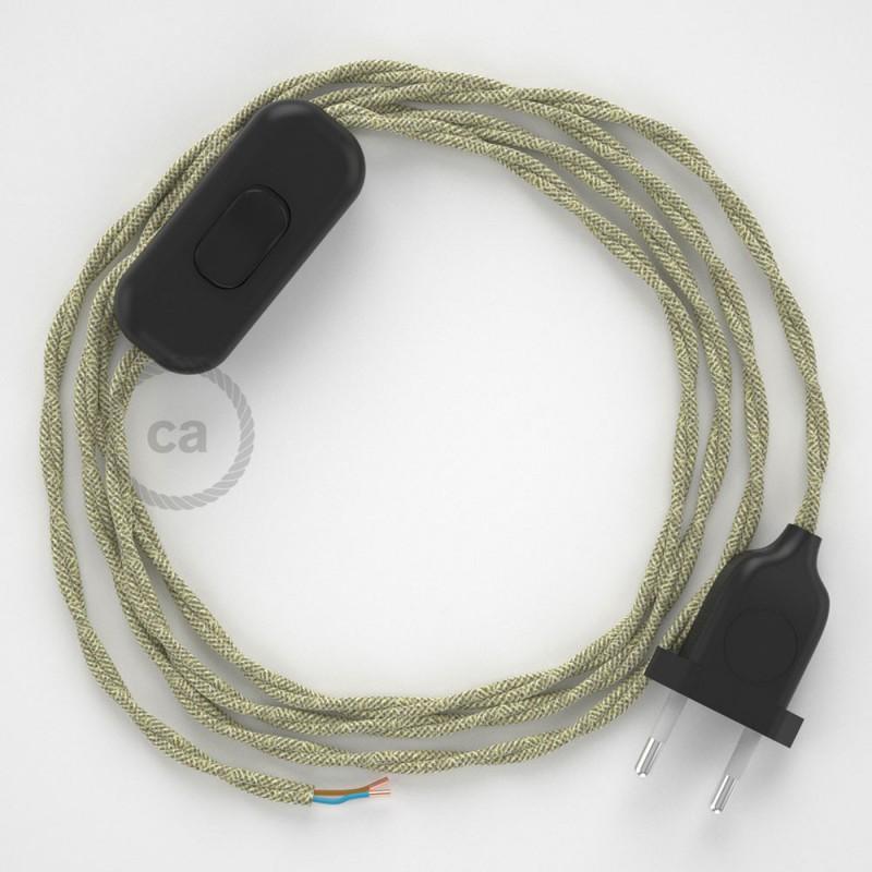 Komplet s prekidačem TN01 Neutralan Prirodni Lan - 1,8 m. odaberite boju prekidača i utikača!