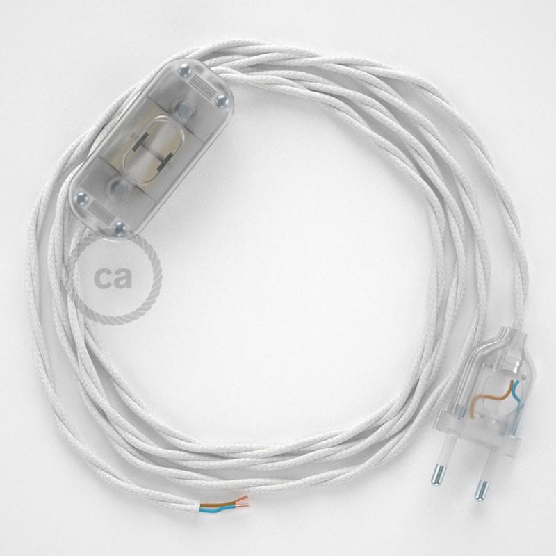 Komplet s prekidačem TC01 Bijeli Pamuk - 1,8 m. odaberite boju prekidača i utikača!