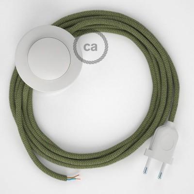 Komplet s podnim prekidačem RD72 Cik-Cak, Timijan Zeleni Pamuk I Prirodni Lan - 3 m. Odaberite boju prekidača i utikača!
