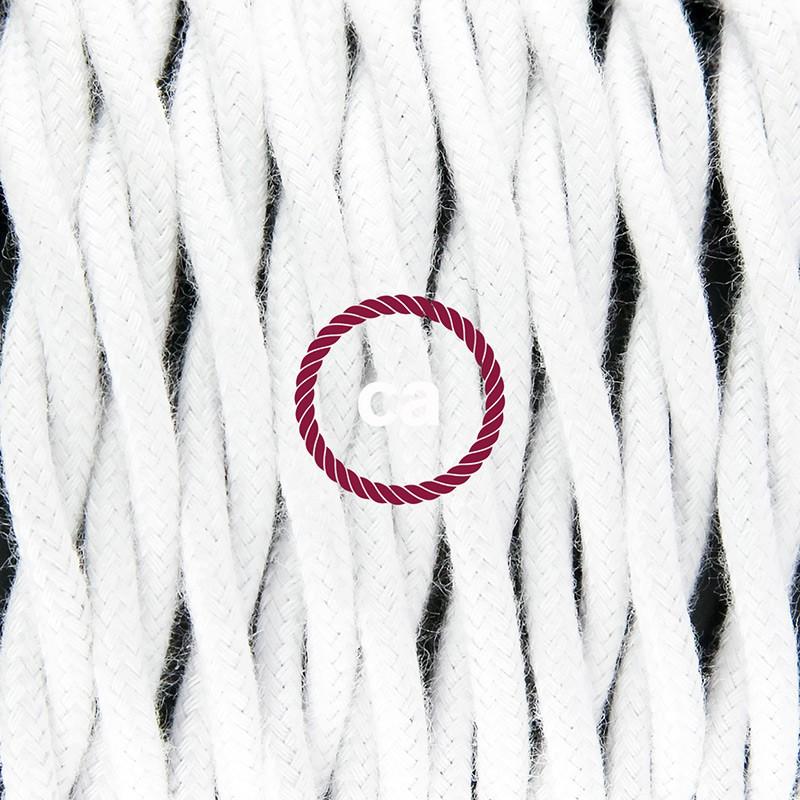 Komplet s podnim prekidačem TC01 Bijeli Pamuk - 3 m. Odaberite boju prekidača i utikača!