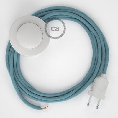 Komplet s podnim prekidačem RC53 Svjetlo Plavi Pamuk - 3 m. Odaberite boju prekidača i utikača!