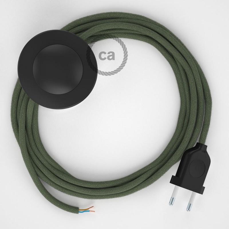 Komplet s podnim prekidačem RC63 Sivo-Zeleni Pamuk - 3 m. Odaberite boju prekidača i utikača!