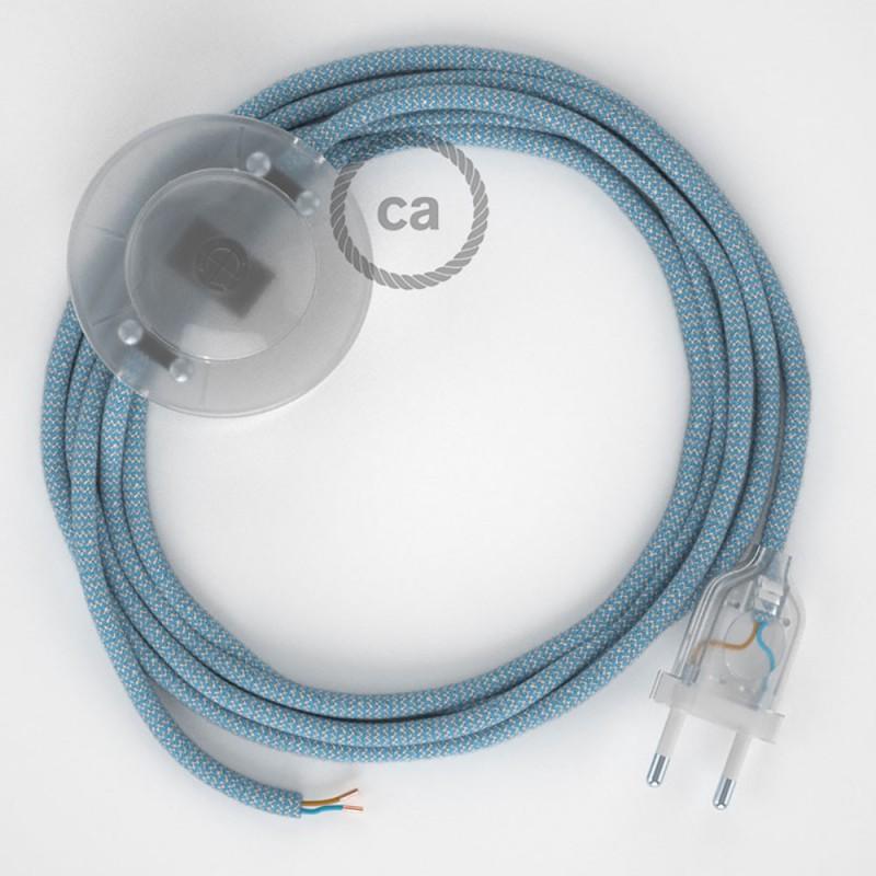 Komplet s podnim prekidačem RD75 Cik-Cak, Nebesko Plavi Pamuk I Prirodni Lan - 3 m. Odaberite boju prekidača i utikača!