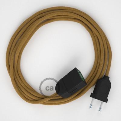 Produžni kabel za napajanje (2P 10A) Medeno-Zlatni Pamuk RC31 - Made in Italy