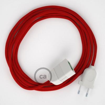 Produžni kabel za napajanje (2P 10A) Vatreno Crveni Pamuk RC35 - Made in Italy