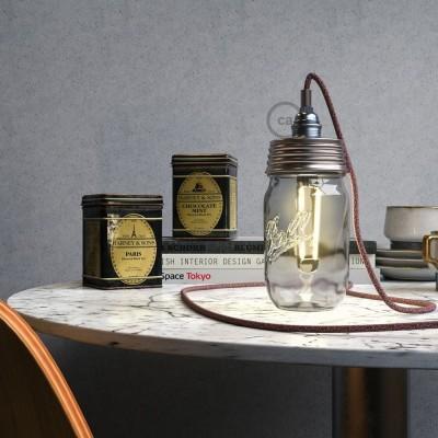 Pocinčani Mason Jar komplet za viseću lampu s cilindričnim produživačem i E14 kromiranim metalnim grlom