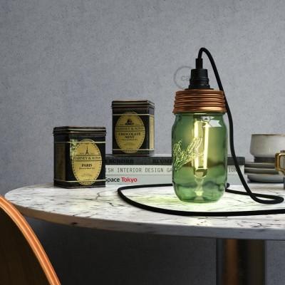 Brončani Mason Jar komplet za viseću lampu s cilindričnim produživačem i E14 grlom za žarulju od crnog bakelita.