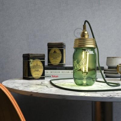 Zlatni Mason Jar komplet za viseću lampu s cilindričnim produživačem i E14 mesing metalnim grlom za žarulju