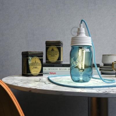 Bijeli Mason Jar komplet za viseću lampu s cilindričnim produživačem i E14 grlom za žarulju od bijelog bakelita