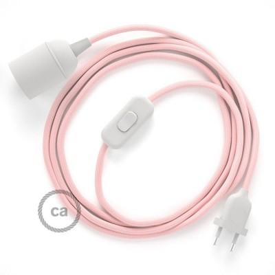 SnakeBis komplet za svjetiljku s tekstilnim kabelom - Baby Pink Rajon RM16