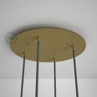 Okrugla 35cm XXL cilindrična rozeta, mat mesing, 4 izlaza + dodaci