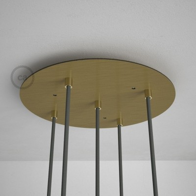 Okrugla 35cm XXL cilindrična rozeta, mat mesing, 5 izlaza + dodaci