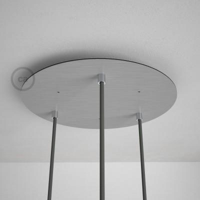 Okrugla 35cm XXL cilindrična rozeta, mat srebrna, 3 izlaza + dodaci