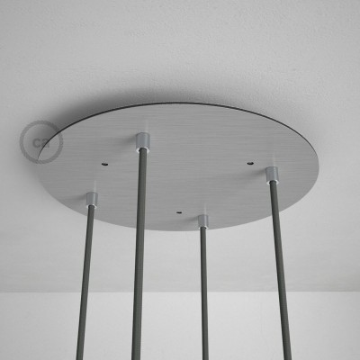 Okrugla 35cm XXL cilindrična rozeta, mat srebrna, 4 izlaza + dodaci