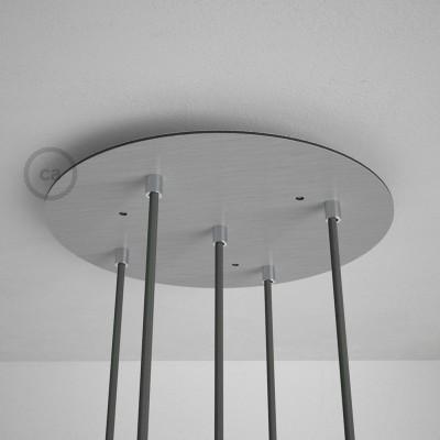 Okrugla 35cm XXL cilindrična rozeta, mat srebrna, 5 izlaza + dodaci