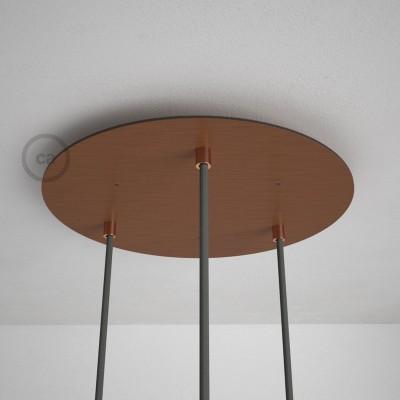 Okrugla 35cm XXL cilindrična rozeta, mat bakrena, 3 izlaza + dodaci