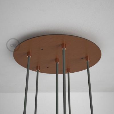 Okrugla 35cm XXL cilindrična rozeta, mat bakrena, 6 izlaza + dodaci