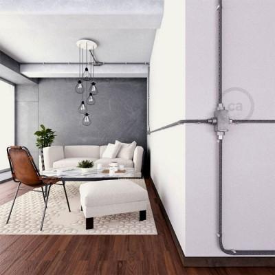 Razdjelnik s četiri izlaza, X oblika za Creative-Tube, u aluminijskom kućištu