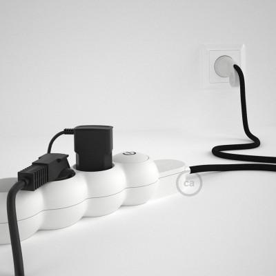 Razdjelnik s električnim kabelom, presvučen crnim RM04 tekstilom i s udobnim šuko utikačem