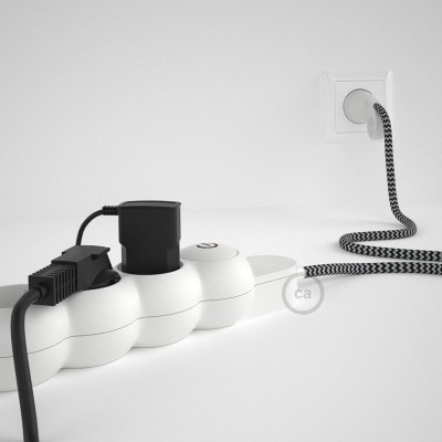 Razdjelnik s električnim kabelom, presvučen s crnim cik-cak RZ04 tekstilom i s udobnim šuko utikačem