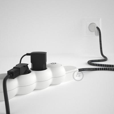 Razdjelnik s električnim kabelom, presvučen s 3D Stars RT41 tekstilom i s udobnim šuko utikačem