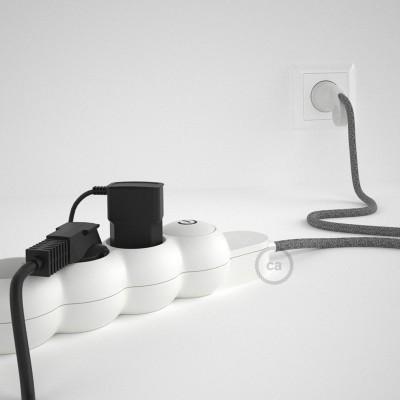 Razdjelnik s električnim tekstilnim kabelom Sivi Prirodni Lan RN02 i s udobnim šuko utikačem