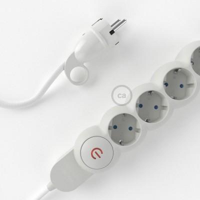 Razdjelnik s električnim tekstilnim kabelom Bijeli RM01 i s udobnim šuko utikačem