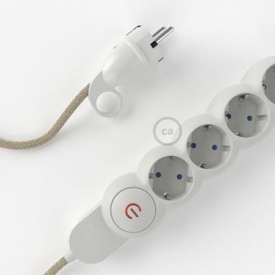 Razdjelnik s električnim tekstilnim kabelom Prirodni Lan RN01 i s udobnim šuko utikačem