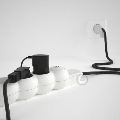 Razdjelnik s električnim tekstilnim kabelom Antracit Lan RN03 i s udobnim šuko utikačem
