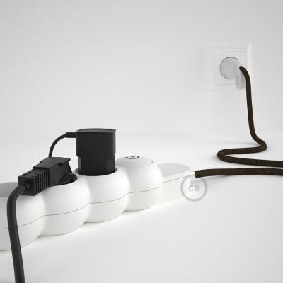 Razdjelnik s električnim tekstilnim kabelom Braon Prirodni Lan RN04 i s udobnim šuko utikačem
