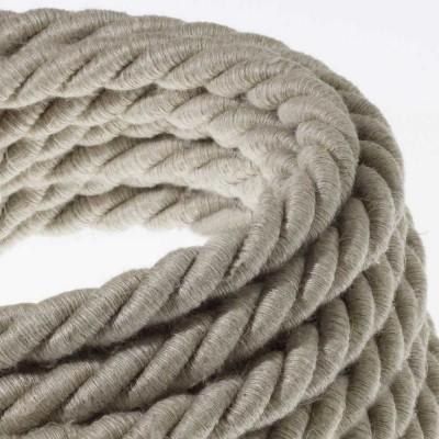 Električno uže XL, kabel 3x0,75 prekriven s tekstilomi i prirodnim lanom. Promjer: 16 mm.