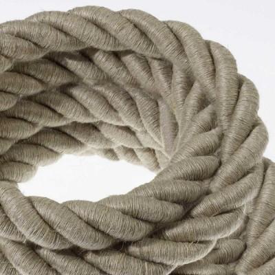 Električno uže 2XL, kabel 3x0,75 prekriven s tekstilomi i prirodnim lanom. Promjer: 24 mm.