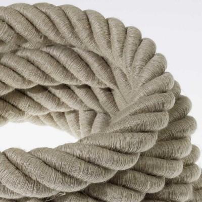 Električno uže 3XL, kabel 3x0,75 prekriven s tekstilomi i prirodnim lanom. Promjer: 30 mm.
