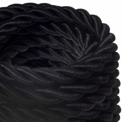 Električno uže 2XL, kabel 3x0,75 prekriven crnim sjajnim tekstilom. Promjer: 24mm.