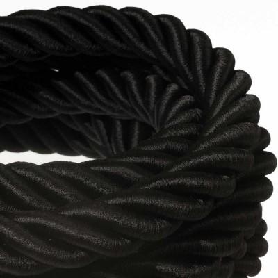 Električno uže 3XL, kabel 3x0,75 prekriven crnim sjajnim tekstilom. Promjer: 30mm.