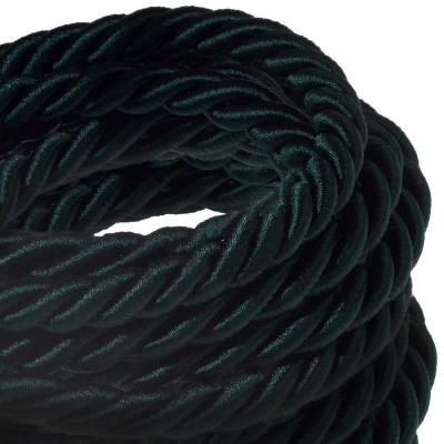 Električno uže XL, kabel 3x0,75 prekriven tamno zelenim sjajnim tekstilom. Promjer: 16mm.