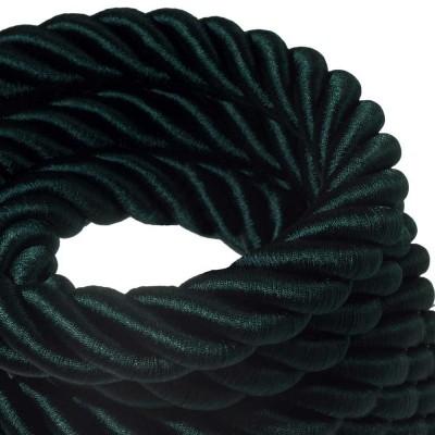 Električno uže 3XL, kabel 3x0,75 prekriven tamno zelenim sjajnim tekstilom. Promjer: 30mm.